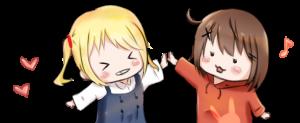女の子2人がハイタッチをするイラスト