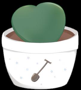 ハートホヤの鉢植えのイラスト