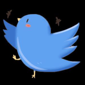 おしゃべり好きな青い鳥のイラスト
