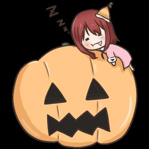 かぼちゃの上でうたた寝をする女の子のイラスト