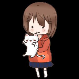 猫を拾った女の子のイラスト