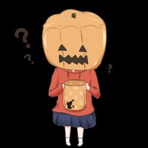 かぼちゃをかぶる女の子のイラスト