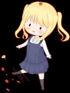 落ち葉で遊ぶツインテールの女の子のイラスト