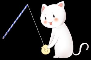 猫と猫じゃらしのイラスト