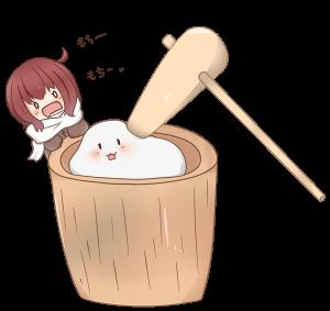餅つきをする女の子