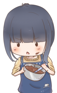 お菓子作りに慣れていない女の子がチョコ作りをしているイラスト