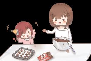 つまみ食いをしている女の子たちのイラスト