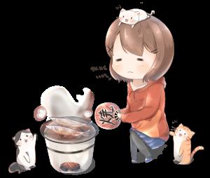 秋刀魚の力で猫を集める女の子のイラスト