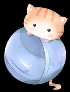 毛糸にくっつく猫のアイコンイラスト