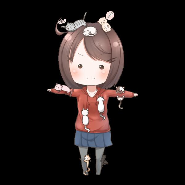 ねこをフル装備する女の子のイラスト
