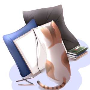 本を眺めている猫のイラスト