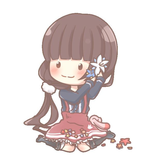 花を髪に飾り付けているイラスト