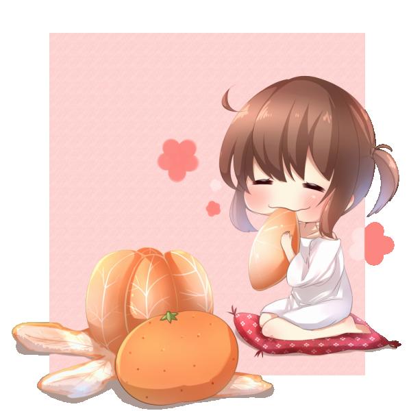 みかんを食べる女の子のイラスト