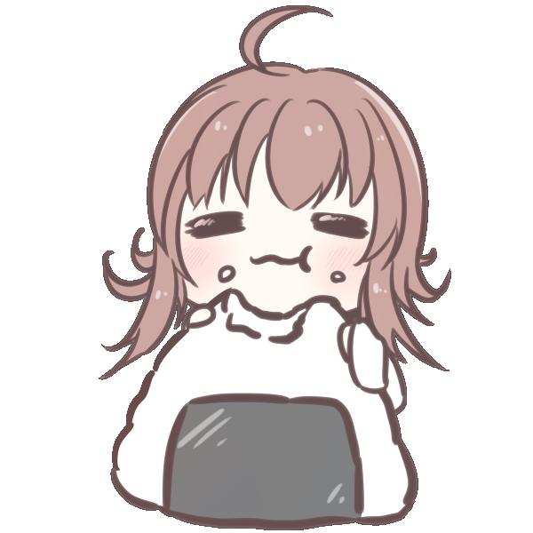おにぎりを食べる女の子のイラスト