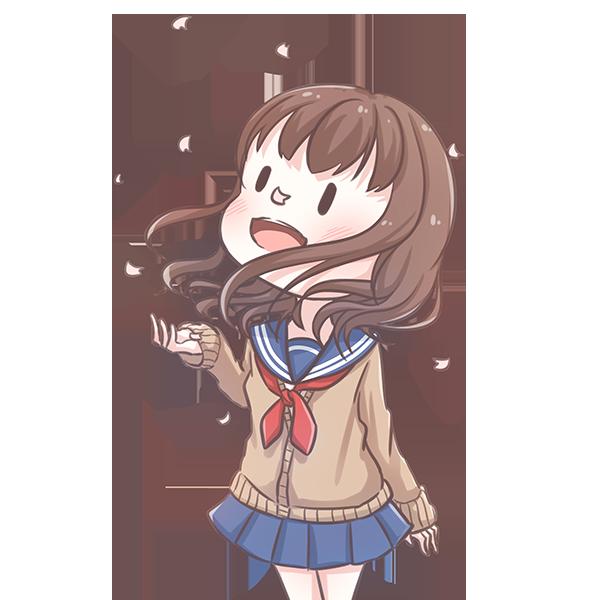 桜を眺める制服の女の子のイラスト