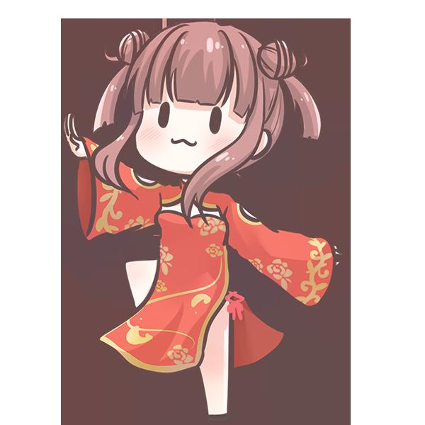 チャイナ服を着た女の子のイラスト