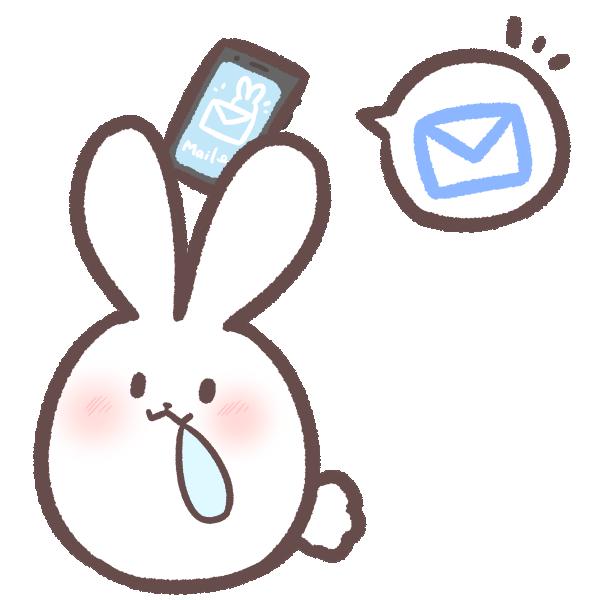 メールをお知らせするウサギのイラスト