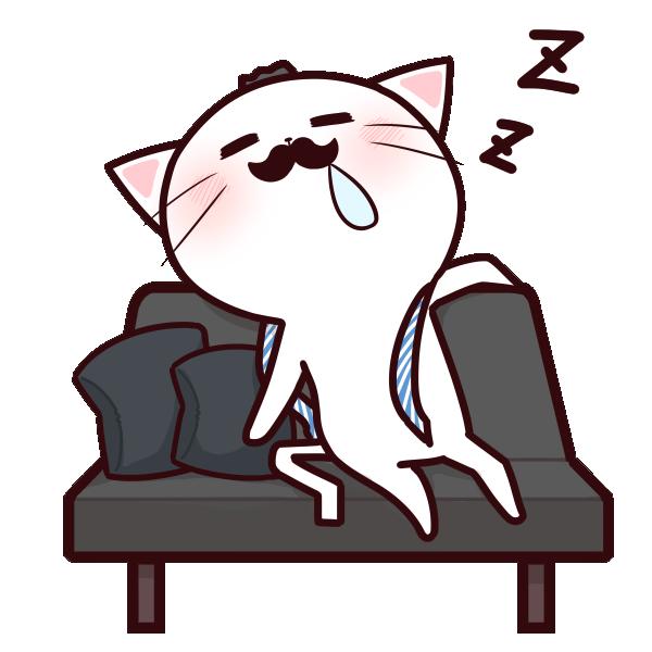 寝落ちするネコパパのイラスト
