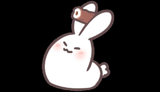【挿絵・GIF】ちくわを投げるウサギ
