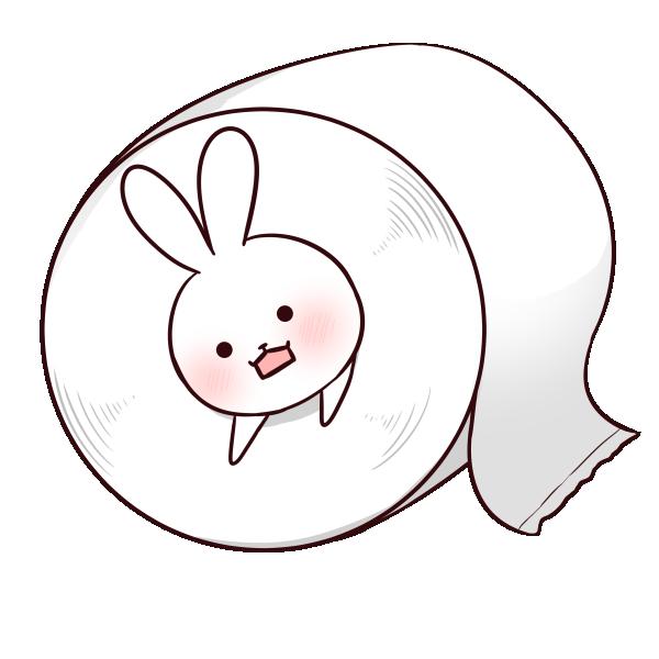 トイレットペーパーに挟まりたいウサギのイラスト
